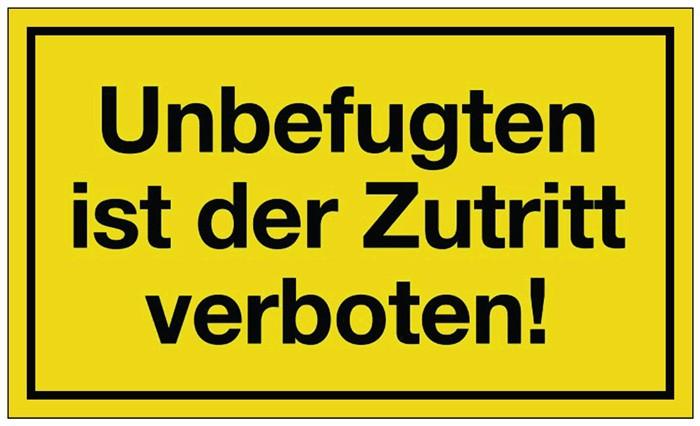 hinweiszeichen unbefugten zutritt verboten ku schwarz gelb hinweiszeichen lager. Black Bedroom Furniture Sets. Home Design Ideas