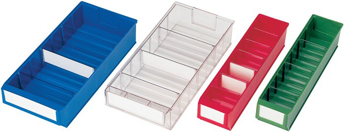 16x lagerboxen transparent gewellter boden promat ps lager und. Black Bedroom Furniture Sets. Home Design Ideas